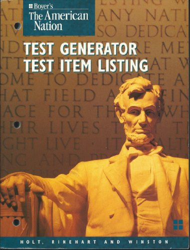 9780030507991: Boyer's the American Nation Test Generator, Test Item Listing