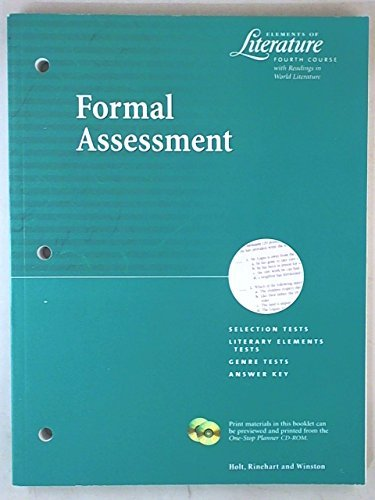 9780030523847: Elements of Literature Fourth Course Formal Assessment