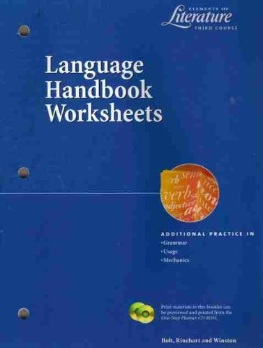 9780030524035: Language Handbook Worksheets Elements of Literature 2000 Grade 9 Third Course