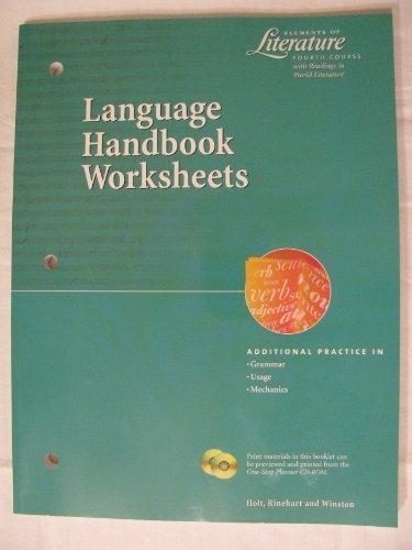 9780030524042: Language Handbook Worksheets (Elements of Literature Fourth Course with Readings in World Literature