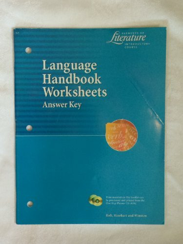 9780030524097: Language Handbook Worksheets Answer Key (Elements of ...