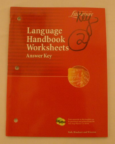 9780030524134: Elements of Literature Second Course Language Handbook Worksheets Answer Key