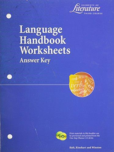 9780030524141: Elements of Literature Language Handbook Worksheets (Answer Key)--Third Course
