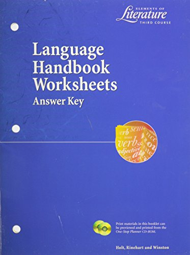 9780030524141: Elements of Literature Language Handbook Worksheets (Answer Key)--Third Course