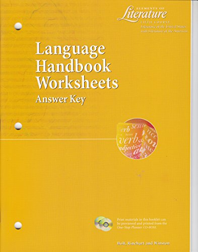 9780030524189: Elements of Literature Fifth Course (Grade 11) Language Handbook Worksheets Answer Key