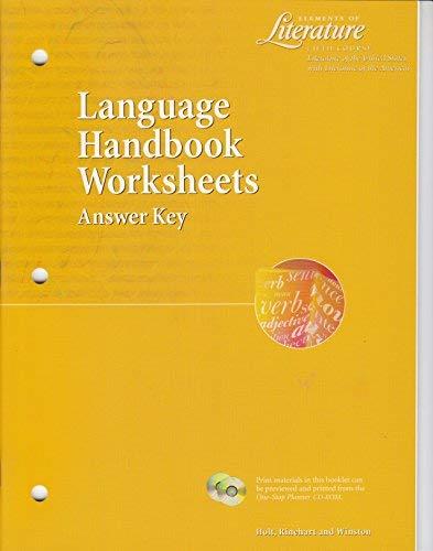 rinehart winston holt - language handbook worksheets answer key ...