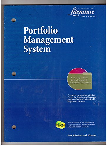 9780030524271: Portfolio Management System (Elements of Literature Third Course)