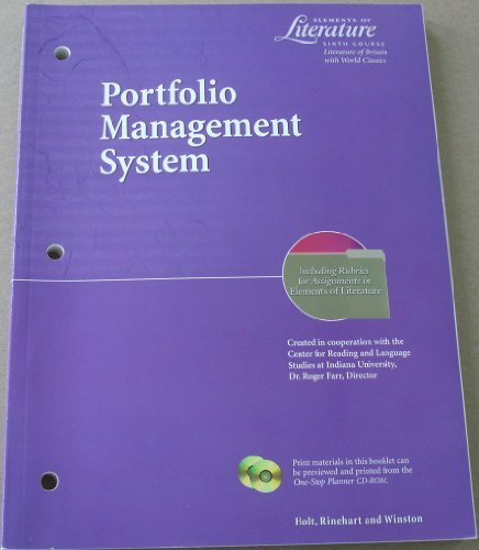9780030524325: Elements of Literature Sixth Course (Grade 12) Portfolio Management System