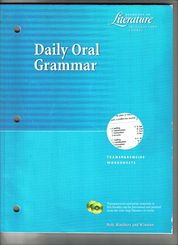 9780030530845: Daily Oral Grammar: Transparencies Worksheets (Elements of Literature Introductory Course)