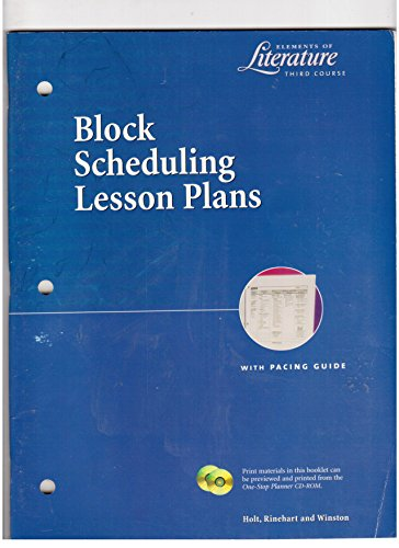 9780030532597: BLOCK SCHEDULING LESSON PLANS (Elements of Literature; Third Course)