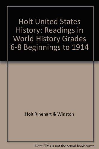 9780030533587: Holt World History: The Human Journey: Readings in World History Full Survey