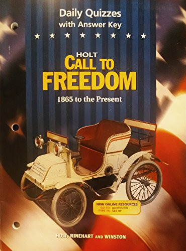 9780030536175: Call to Freedom 1865 to the Present Daily Quizzes with Answer Key