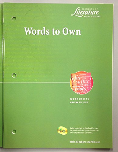 Words to Own Eol 2000 G 7: Holt, Rinehart and