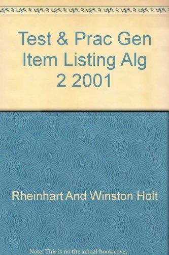 9780030541599: HRW ALGEBRA 2: TEST & PRACTICE GENERATOR ITEM LISTING