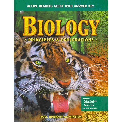 9780030553226: Biology - Active Reading Guide with Answer Key (Principles adn Explorations)