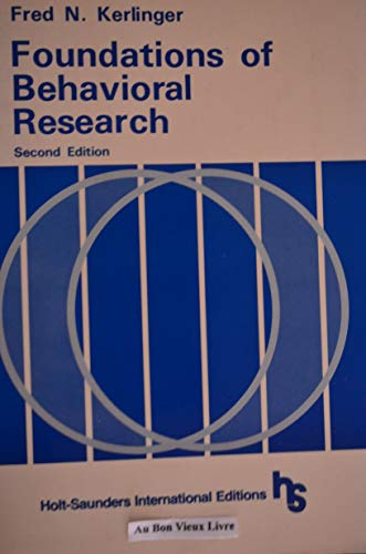 9780030555596: Foundations of Behavioral Research