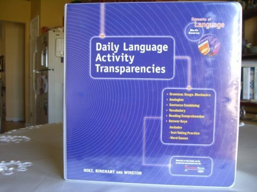 9780030560224: Holt Elements of Literature, Six Course: Daily Language Activities Transparencies (Grammar, Usage, M