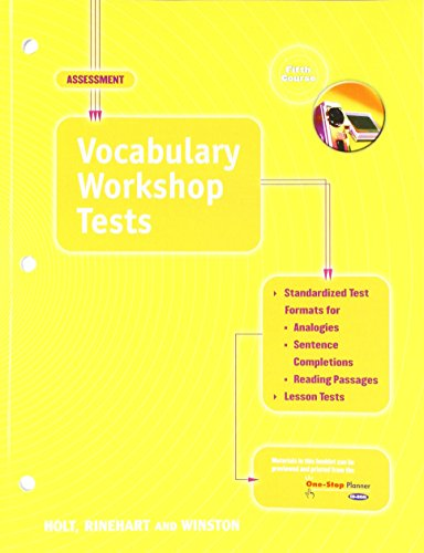 9780030563034 Elements Of Language Vocabulary Workshop Tests Grade 11 Fifth Course