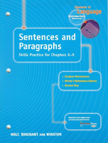 9780030563140: Sentences and Paragraphs: Skills Practice for Chapters 8-9 (Elements of Language Series)