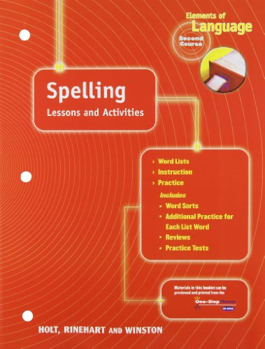 9780030563287: Spelling Lessons and Activities (Elements of Language, 2nd Course)