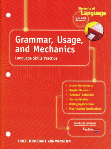 9780030563522: Holt Elements of Language: Grammar, Usage and Mechanics Language Skills Practice Grade 8 (Elements of Language, Second Course)