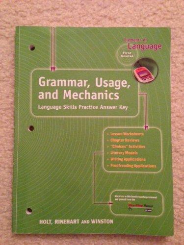 9780030563591: Elements of Language : Grammar, Usage and Mechanics: Language Skills Answer Key - Grade 7
