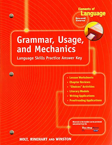 9780030563614: Elements of Language : Grammar, Usage and Mechanics: Language Skills Answer Key - Grade 8