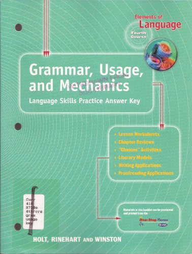 9780030563638: Elements of Language Fourth Course Grade 10 Grammar, Usage, and Mechanics Language Skills Practice Answer Key
