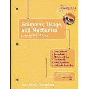 9780030563645: Elements of Language, 5th Course, Grade 11 Grammar, Usage and Mechanics, Language Skills Practice Answer Key