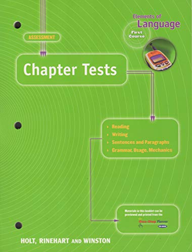 9780030563782: Chapter Tests: Assessment,  Elements of Language,  First Course 2001 Grade 7