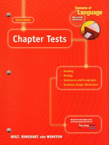 9780030563799: Chapter Tests (Elements of Language, Grade 8, 2nd Course)