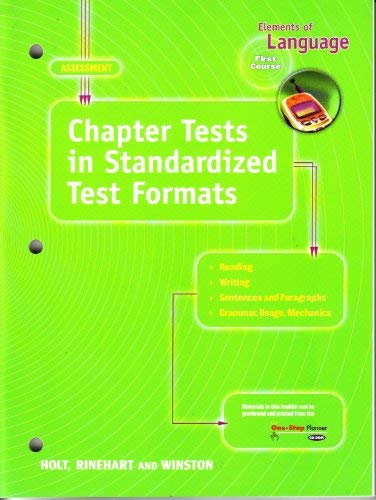 9780030563874: Elements of Language: Chapter Tests in Standardized Test Formats, First Course