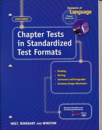 9780030563898: Elements of Language - 3rd Course - Chapter Tests in Standardized Test Formats