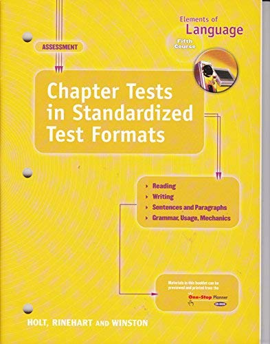 9780030563928: Elements of Language Fifth Course (Grade 11) Chapter Tests in Standardized Test Formats