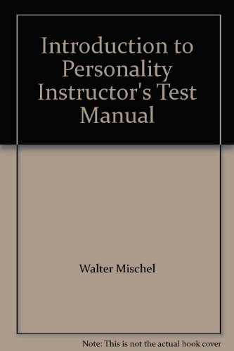 9780030569999: Introduction to Personality Instructor's Test Manual