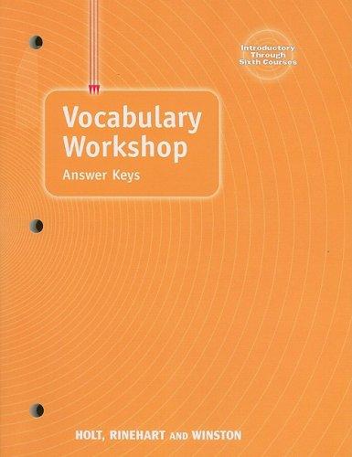 Elements of Language: Vocabulary Workshop Answer Keys: Rinehart; Holt, Winston