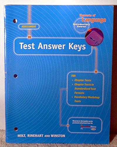 9780030574245: Elements of Language, Introductory Course, Test Answer Keys