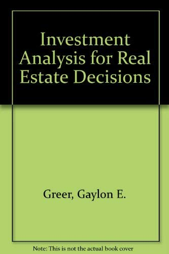 9780030612473: Investment Analysis for Real Estate Decisions (The Dryden Press series in finance)