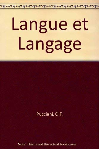 9780030625176: Langue et Langage (French Edition)