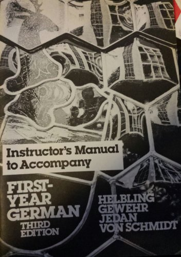 9780030625923: First Year German (Instructors Manual)