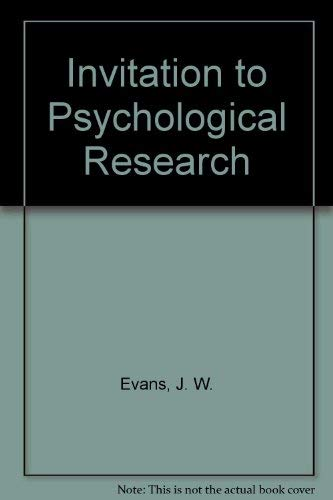 9780030636028: Invitation to Psychological Research