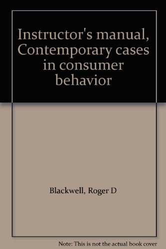 9780030639586: Instructor's manual, Contemporary cases in consumer behavior