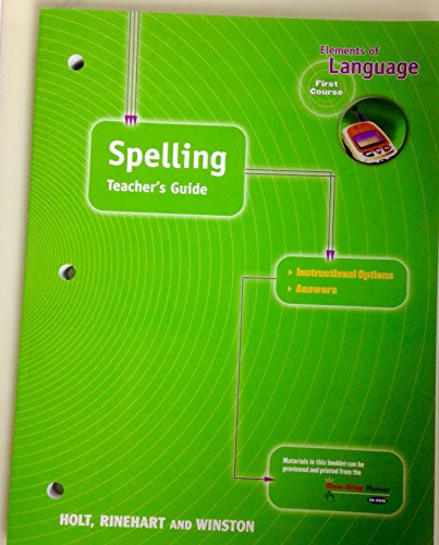 9780030639982: Spelling Teacher's Guide (Elements of Language, 1st Course, Grade 7)