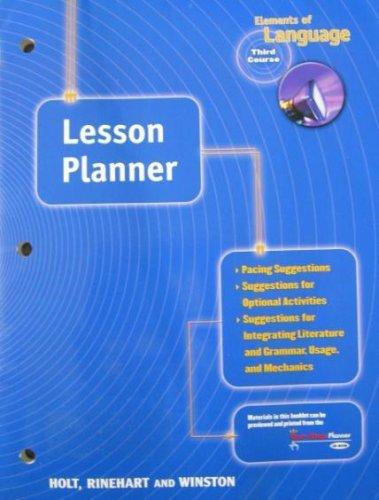 9780030641176: Elements of Language Third Course (LESSON PLANNER)