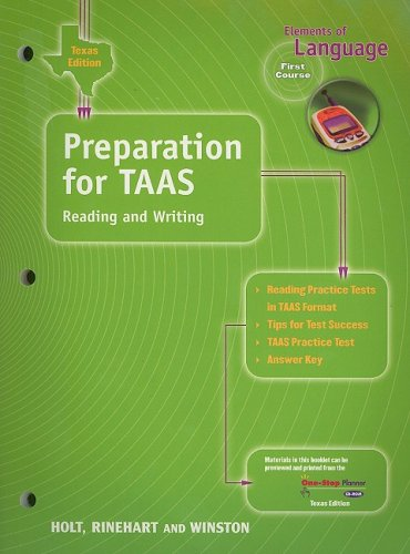 9780030642517: Texas Edition Preparation for TAAS Reading and Writing: Elements of Language, First Course (Elements of Language 2001)