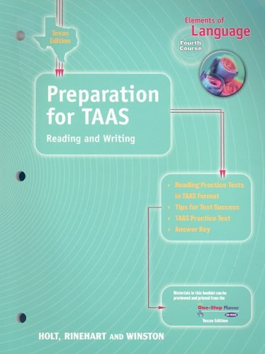 9780030642548: texas elements of language: preparation for taas, reading and writing: Fourth Course (Elements of Language 2001)