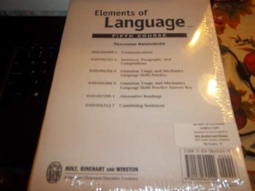Elements Of Language, Fifth Course, Grade 11 Teaching Resources Softcovers Package: Staff