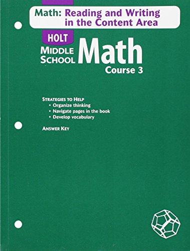 9780030651878: Holt Mathematics: Math Reading and Writing in the Content Area, Course 3