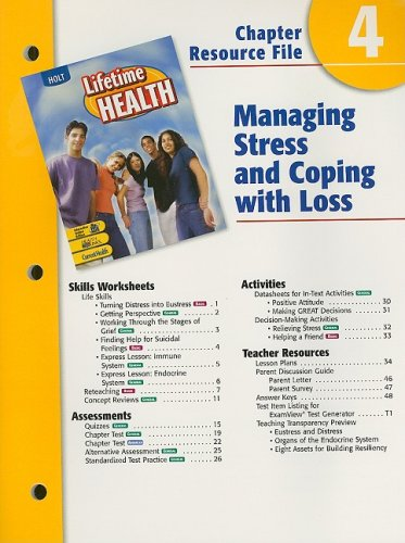 9780030651960: Holt Lifetime Health Chapter 4 Resource File: Managing Stress and Coping with Loss