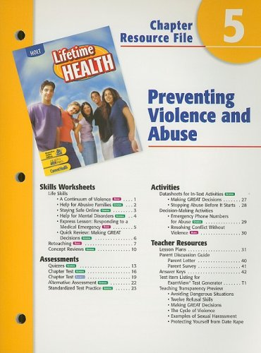 9780030651977: Holt Lifetime Health Chapter 5 Resource File: Preventing Violence and Abuse